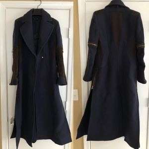 Authentic Versace wool and suede long coat